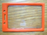 Orange ID Badge Holder Clear Window w/ Color Border Lanyard Holes Vertical Vinyl