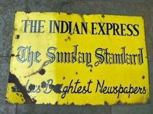 Old Vintage Porcelain Enamel Indian Express Sunday Standard News Paper Sign Boar