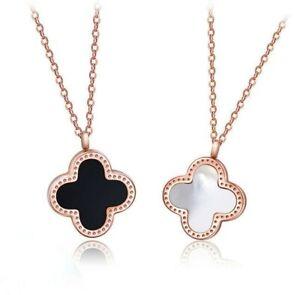 Women Four Leaf Clover Rose Gold Plated 2 Sides Necklace Pendant Gift Flower UK