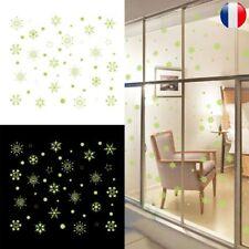 Sticker Mural Lumineux Nuit Fluorescent Flocon Neige Noël Autocollant Décoration