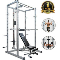Merax Full Power Rack Squat Cage and Weight Bench 2 in 1 Home Gym Workout System
