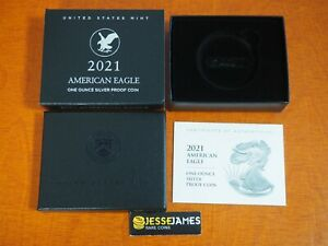 NO COIN: 2021 S PROOF SILVER EAGLE BOX/COA TYPE 2 OGP ONLY BUY 2 GET 3RD FREE!!