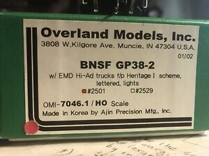 Overland Models OMI 7046.1 BNSF Heritage I GP38-2 NEW MINT CONDITION, Never Run!