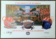 URBAN MEYER 2008 Florida Gators National Champions SIGNED Poster LIMITED EDITION