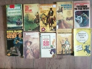 10  JOB LOT Vintage Cowboy Western Books