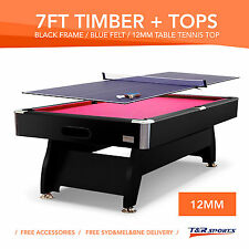 7FT RED PUB SIZE POOL TABLE SNOOKER BILLIARD & 12MM STANDARD SIZE PING PONG TOP!