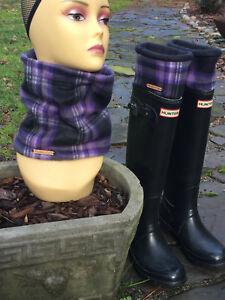 Hunter Boot Purple Plaid Cuff Liners, Fleece Socks, Neck Warmer
