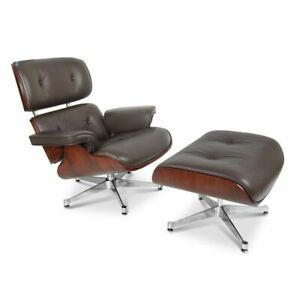 Lounge Chair and Ottoman Real Leather Brown Walnut Wood