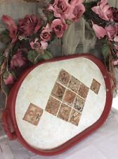 Large Solid Wood Serving Drinks Tray/ Handles~Lap Tea Table~Vintage Stone Insert