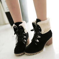 Women Ankle Boots Lace Up Snow Warm Suede Plush Block Heel Winter Combat Booties
