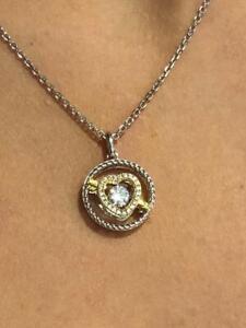 "Platinum Sterling Silver White Sapphire ""Dancing Diamond"" Heart & Arrow Necklace"