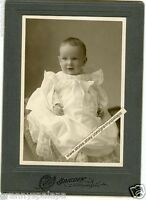 Antique Matted Photo-Cleveland Ohio-Close Up Cute Smiling Baby - Long Dress