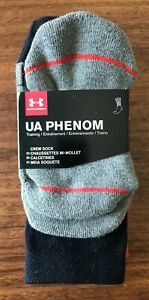 Under Armour UA Phenom Crew Socks 3 pk Boys 13.5K - 4Y White Red Grey/Black New