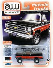 AUTOWORLD 1:64 1978 BLACK/RED CHEVY K10 SILVERADO FLEETSIDE TRUCK MODEL AWSP044A