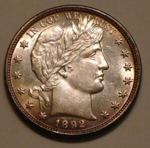 1892 P Barber Half Dollar beautiful Sparkling HIGHER GRADE