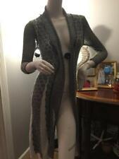Joseph Ribkoff Women Black SILVER Lurex Cardigan Sweater Duster CROCHET  S/P
