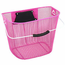 Pink Steel Mesh Bicycle Basket with Handle Lightweight Universal Bike/Cycle