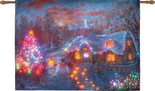 Christmas Cottage Fiber Optic Tapestry Wall Hanging ~ Artist, Nicky Boehme