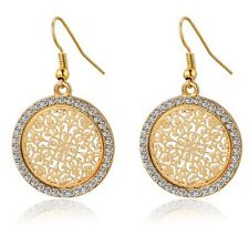 18K Yellow Gold Plated Round Filigree Drop Dangle Earrings Austrian Crystals