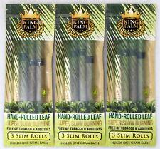 King Palm Slim Rolls 3 Packs Natural Leaf w/ Filter 9 Wraps w/ Packing Stick