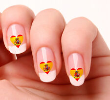 20 Nail Art Decals Transfers Stickers #276 - Spanish Flag Heart