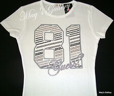 GUESS Jeans  Studded  Tank T-shirt Tee T shirt  Top Blouse White  Cotton NWT  XS