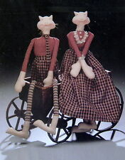 "Never Dull Needle Craft pattern Primitive CAT rag doll 27"" shelf sitter display"