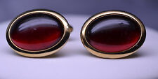 VINTAGE 1940s FOSTER RED PLASTIC DOMED OVAL CUFFLINKS