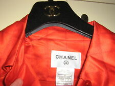 CHANEL RUNWAY CC LOGO+CHANEL BUTTON QUILTED RED SILK HIPPIE TUNIC DRESS 36NEW$3K