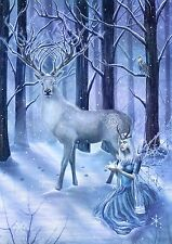 Frozen Fantasy Stag Yule Midwinter Greeting Card Alternative Christmas Solstice