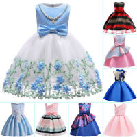 Floral Girl Princess Dress Baby Kid Party Wedding Bridesmaid Formal Tutu Dresses