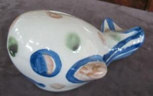 """Mary A. Hadley Whale Stoneware 7.5"""" Bank"""