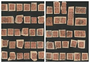 CHINA : 1898 C.I.P. 4c COILING DRAGON STAMP LOT ON PAPER W/ GOOD CANCELS (62)