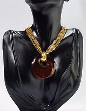 Vintage Haute Couture Natori Faux Amber Pendant Multi Strand Chain Necklace