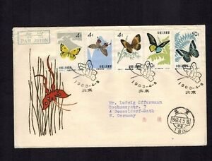 PRC China 1963 cover Butterflies S56 1963 4 5 Beijing to Germany tiny bend tear