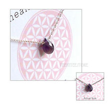 """Dogeared Faceted Amethyst Teardrops Necklace Sterling Silver 16""""+ 2"""" Ext. Boxed"""