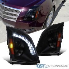 For 2008-2014 CTS Black Smoke SMD LED DRL Strip Projector Headlights Left+Right