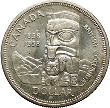 1958 Canada British Columbia Centennial Totem Pole Large Silver Coin i53078