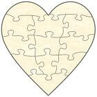 Blanko Puzzle in legno Cuore, 12 Pezzi, 19x19 cm, da da dipingere da sè e Moda