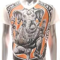 w38 M L XL Japanese Irezumi Tattoo VNECK T-shirt Ganesha Ganesh Hindu God Lord