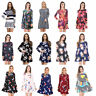 Women Ladies Long Sleeve Crew Neck Printed Flared Skater A Line Swing Dress 8-26