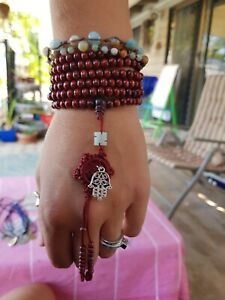 Hamsa Hand Mala Beads Buddhist Bracelet Necklace Sandalwood Wooden Yoga Hippie ♡