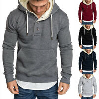 Men's Fall Winter Casual Hoodie Warm Plain Pullover Sweatshirts Hooded Coat Tops