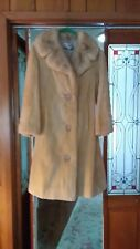 ROYAL FURS Champagne Sheared Beaver Mink Collar & Leather Belt Coat Size 8 MED