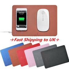 PU Leather Qi Wireless Fast Charger Mouse Pad Mat Mobile Phone Charging Mat