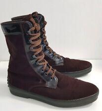 TOD'S Velvet Leder Stiefel Boots 41 braun Schnürschuh Bottes Shoes Noppenferse