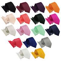 DQT Premium Woven Solid Check Wedding Men's Slim Tie Handkerchief Cufflinks Set