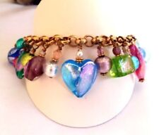 REAL Murano Glass -Italian Made- Charm Bracelet Hand Made Alchemy Gift Boxed