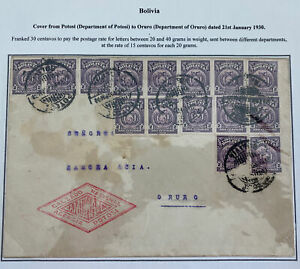 1930 Potosi Bolivia Commercial National Footwear Cover To Oruro Hand Stamp