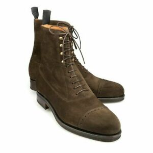 Handmade Men's Ankle High Suede Boots, Men's Brown Color Cap Toe Lace Up Boots